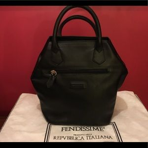 """FENDISSIME"" Black Leather Handbag"